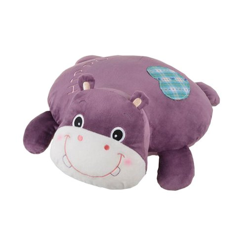 Lovely Cartoon Hippo Design Plush Nap Pillow Sofa Cushions Neck Pillow Purple