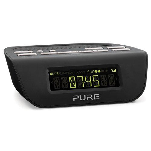 Pure Siesta Mi Series 2 DAB Digital Radio Alarm Clock with FM - LCD Display with Auto Brightness - Sleep and Snooze timers with Volume fade - Black