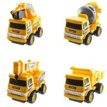 deAO Kids Construction Truck Set- With Cement Mixer + Dump Truck + Digger + Crane