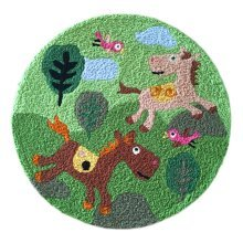 [Horse] Children Bedroom Decor Rug Embroidered Mat Cartoon Carpet,23.62x23.62 inches