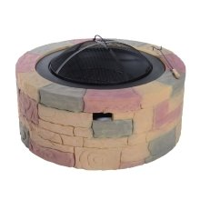 Outsunny Stone-Effect Concrete Outdoor Fire Pit