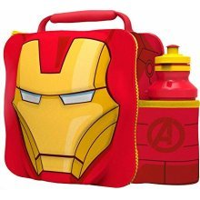 St358 - 3d Lunch Bag With Bottle - Iron Man - Marvel Set Avengers Box New 500ml -  iron man 3d lunch bottle bag marvel set avengers box new 500ml