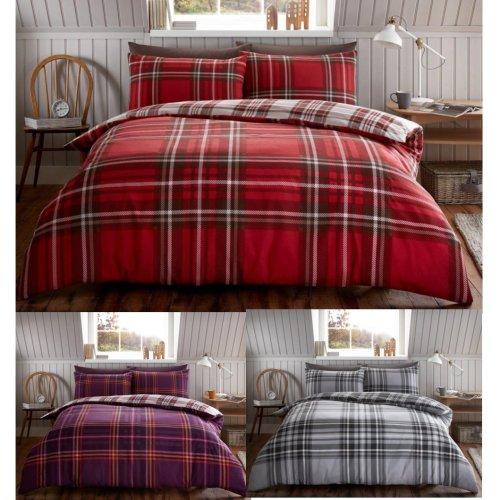 Tartan Check Brushed Cotton Flannelette Duvet Cover Flannel Bedding Set