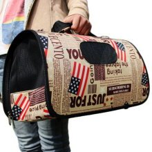 M Size Carry Bag Sweet Cute Pet Home Dog Cat Carrier House Travel--American Flag