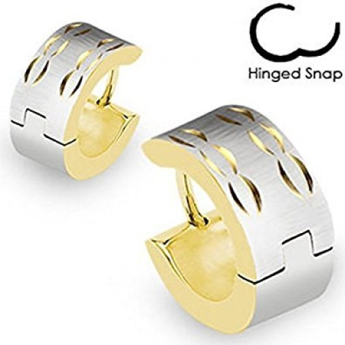 Pair Of Brushed Steel Grooved Arc Design Hinged Snap Close Gold Plated Surgical Steel Huggy Hooped Earrings 0.8mm Thickness