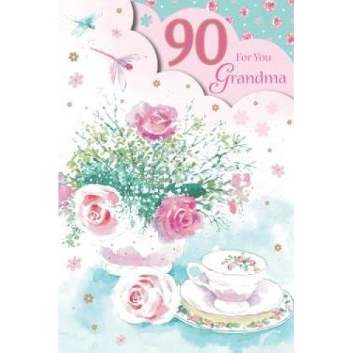 For You Grandma 90 90th Happy Birthday Flowers Teacup Design Good Quality Card With A Lovely Verse On OnBuy
