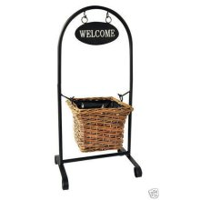 New Traditional Free Standing Robust Rattan Basket Welcome Planter Coated Steel