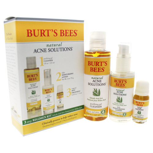 Natural Acne Solutions 3 Step Regimen Kit by Burts Bees for Unisex - 3 Pc Kit 5oz Purifying gel Clea