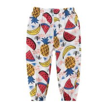 Comfortable Soft Children's Trousers, White And Fruits