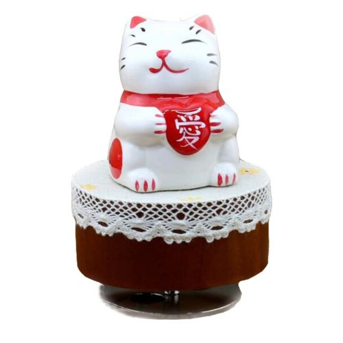 Lovely Cat Music Box Mini Clockwork Music Box Height Approx 4.3 Inch