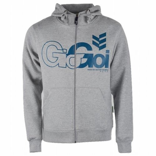 Gio Goi Men's Lancer Full Zip Hoody Hoodie Grey Marl