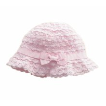 Summer Baby Girl Caps Cotton Sun Hat For 2-3 Years Baby Pink Lace