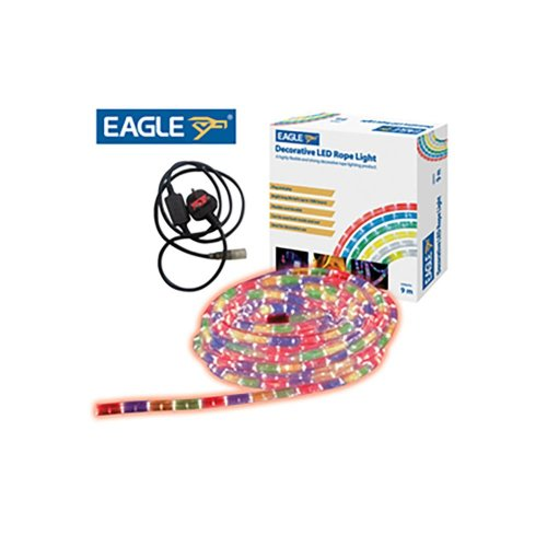 Eagle Static Plug and Play LED Rope Light 9m multi coloured