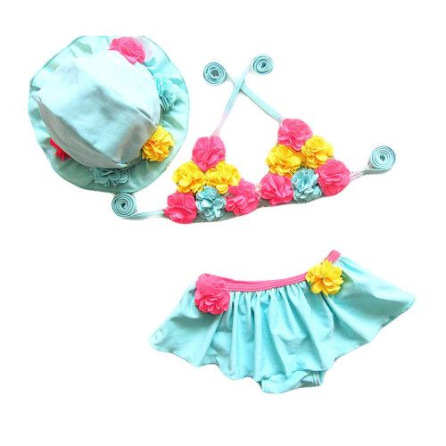 Blue Cute Flower Little Girl Bikini Girl Two-Piece Swimsuit with Cap,17.5-22.5kg