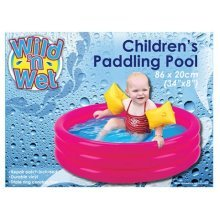 "Pms 34""x8"" 3-ring Paddling Pool In P/box. 2 Asst Plain Cols - Swimming 86cm -  pool paddling swimming 86cm garden childrens inflatable kids play 3"