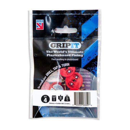GripIt Red 18mm Plasterboard Fixings For Stud Walls - Max Load 74Kg (4 Pack)