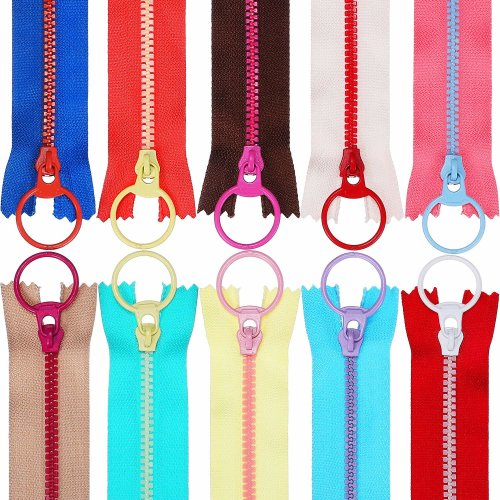 20 Pieces Plastic Resin Zippers with Lifting Ring Quoit Colorful Zipper for Tailor Sewing Crafts Bag Garment (12 inch)