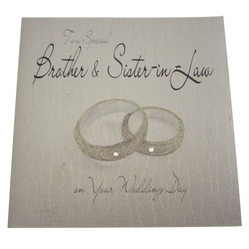 WHITE COTTON CARDS WB10 Rings To a Special Brother and Sister-In-Law on Your Wedding Day Handmade Wedding Card, White