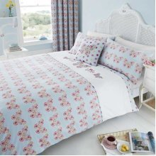 Catherine Lansfield Embroidered Butterfly Reversible Duvet Cover Set