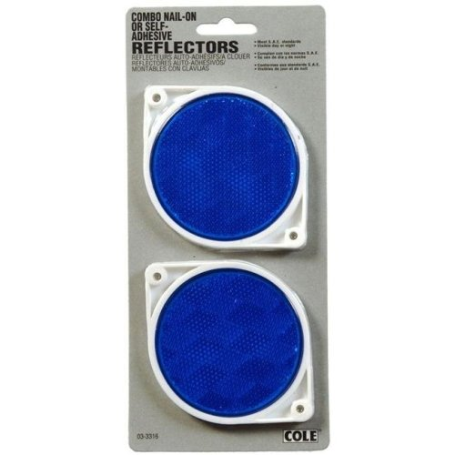 Hillman Group 844011 3 in. Adhesive Circle Reflectors, Blue - 10 Piece