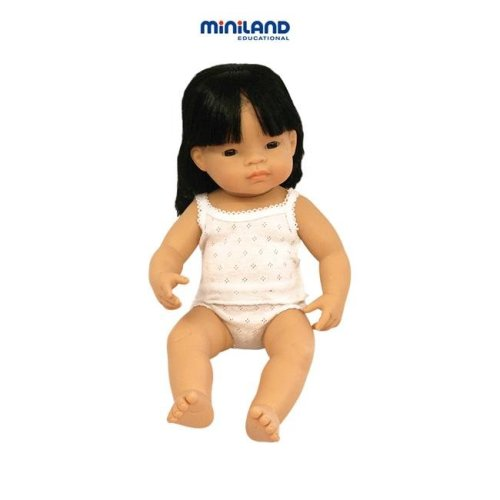 Miniland Educational 31156 Baby doll asian girl- 40 cm- 15 .75 in.Case