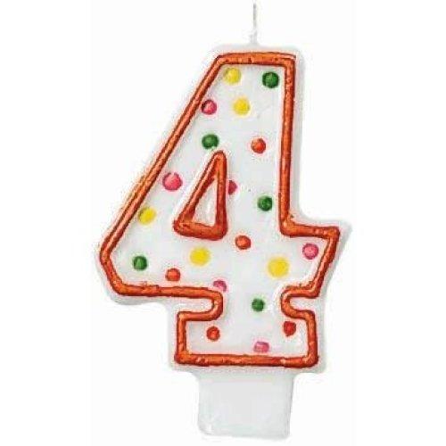 4 Polka Dots Birthday Candle  - 7.6cm