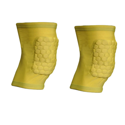[YELLOW] Short Comb Pad Compression Basketball Leg Sleeve One Pic, Size L