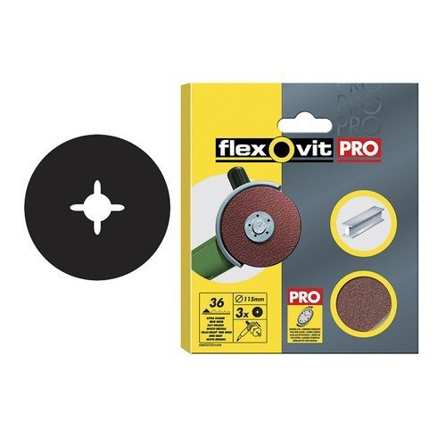 Flexovit 63642527534 Aluminium Oxide Fibre Discs 115mm Medium 50g Pack of 3