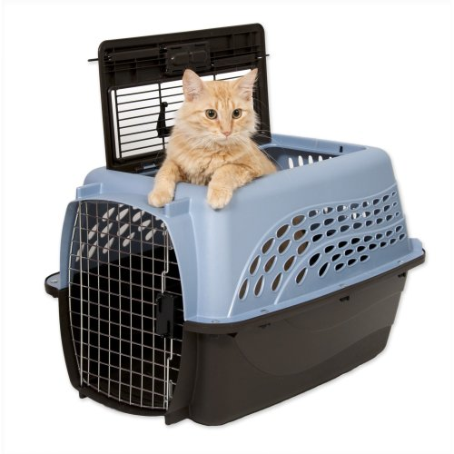 "Petmate 2 Door Top Load Kennel 24"" up to 15lbs Ash Blue/Coffee"