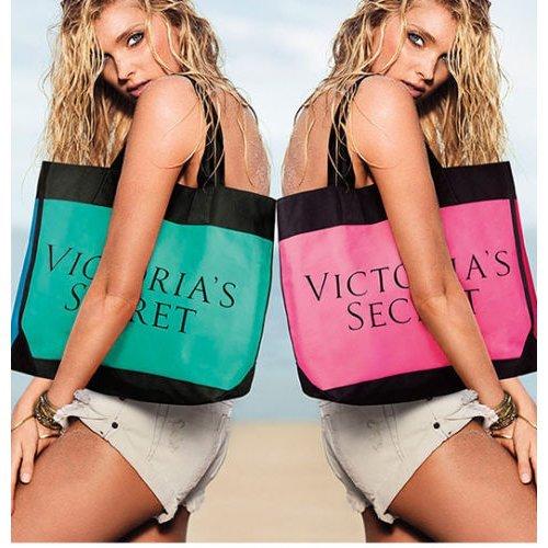 Victoria's Secret Color Block Tote Summer 2015 Teal/Blue Bag
