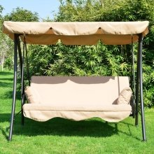 Outsunny Garden Patio Swing Hammock Cushioned Bench + 2 Pillows