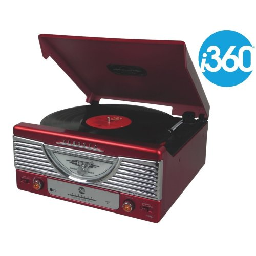i360 Record Player Turntable Premium Vinyl Player - FM Radio and Built-in Speakers Converts Vinyl into MP3 Digital Files (Red)