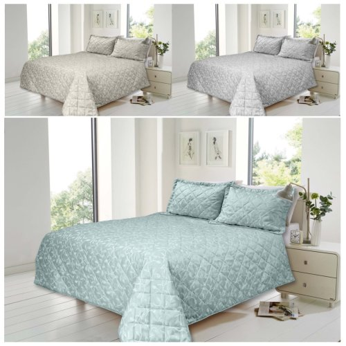Florence Cotton Rich Jacquard Quilted Bedspread 2 Pillow Shams