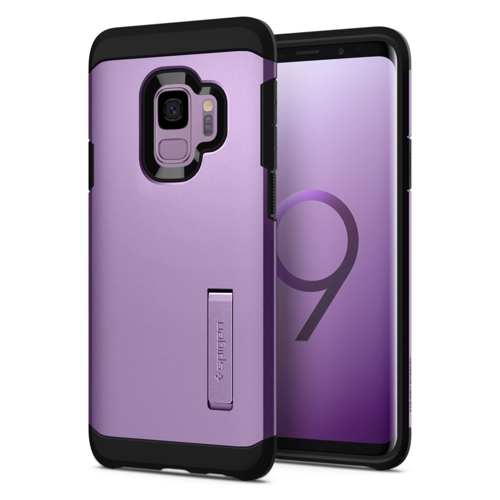 detailed look 3e7ee c0fb5 Spigen [Tough Armor] Galaxy S9 Case with Reinforced Kickstand and Heavy  Duty Protection and Air Cushion Technology for Samsung Galaxy S9 - Lilac...