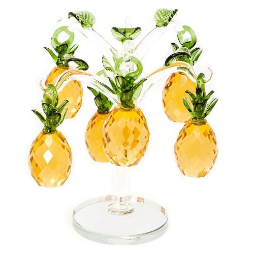 Eye-Catching and Unique Pure Crystal Glass Gold Pineapple Tree Ornament by Happy Homewares
