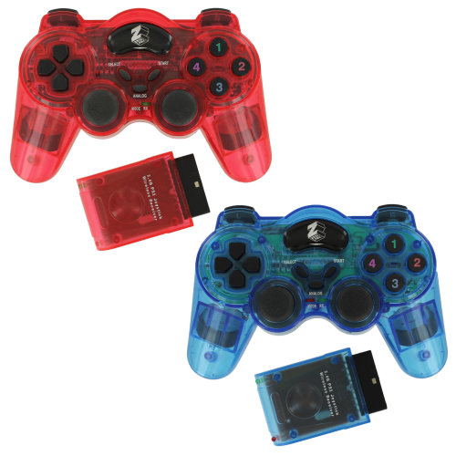 Wireless controller for PS2 2 pack PlayStation 2 Sony gamepad ZedLabz blue & red