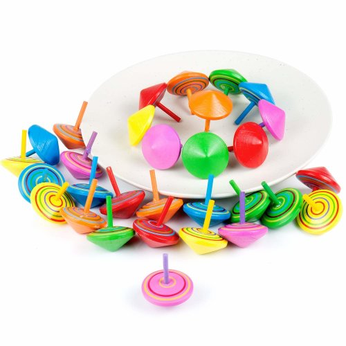 Comius Spinning Tops Set Of 30 Wooden For Kids Birthday Party Favours Bag Fillers Supplies Decorations