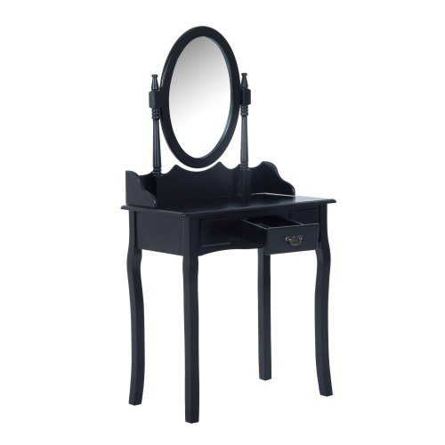 Homcom Wooden Dressing Table Vanity Set Seat W/ Mirror & Stool (black)