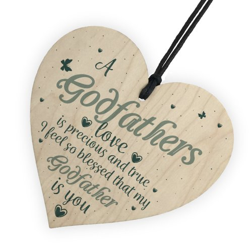 RED OCEAN Godfathers Love Wooden Heart Plaque Sign Fathers Day Christening Birthday Asking Gifts For Him