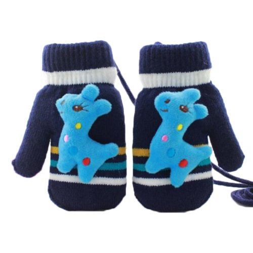 Thick Cute Fawn Plush-lined Hand Warmer Toddler Warm Gloves with String, #01