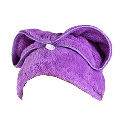 """Set of Two Water Absorption Soft Turban Lovely Shower Cap Bath Hair Dry Towel 25.59""""x11.02""""(Purple)"""