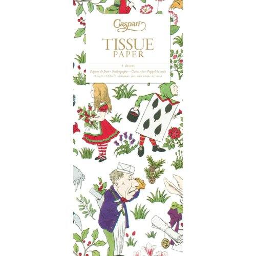 Alice in Wonderland in a winter garden Christmas Caspari Tissue Wrap 4 sheets of 70 x 50 cm luxury tissue wrapping paper