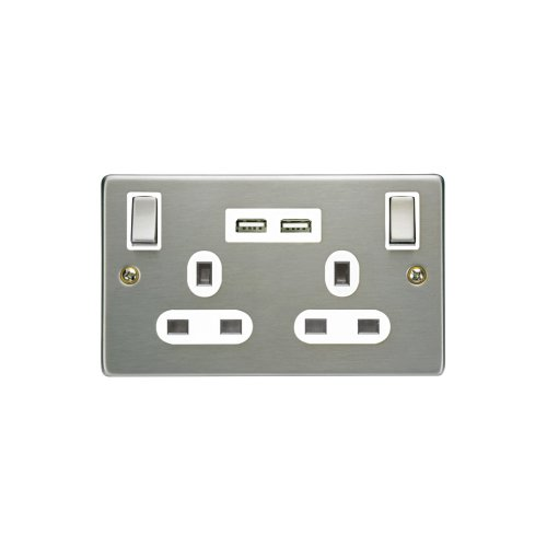 Dual Gang Dual Port UK Mains Faceplate With Twin USB Charging Sockets Brushed Chrome Finish