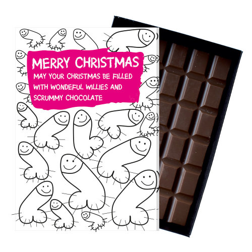 Christmas Funny Rude Gift For Women With Willy Theme Boxed Chocolate Present