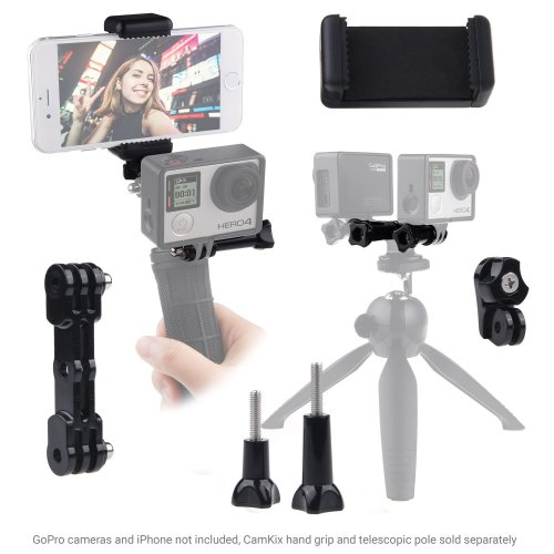 CamKix replacement Dual Mount compatible with GoPro Hero with Tripod Adapter and Universal Phone Holder - Record Videos with 2 Different Camera...