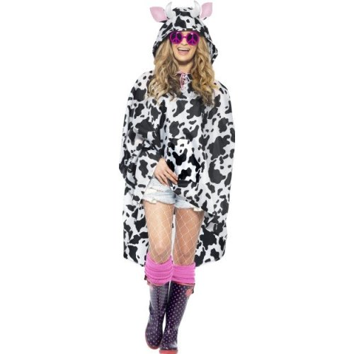 Smiffy's Adult Unisex Cow Party Poncho, Drawstring Bag, Party Ponchos, Serious -