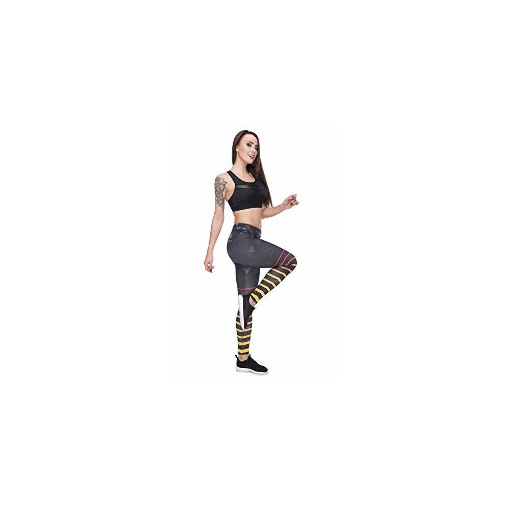 3be166d12ac6a ... Black Triangle Stripes Women's Sports Funky Leggings - 4. >
