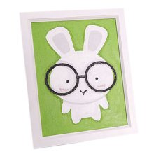 [Glasses Bunny]DIY Art Digital Oil Painting with Wood Frame Wall Art(7.8*5.9'')