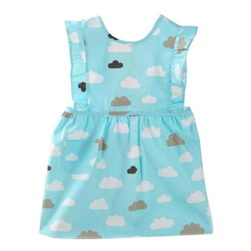 Lovely Baby Aprons Waterproof Gowns Painting Cotton Clothing Blue
