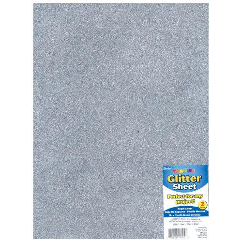 """Glitter Foam Sheet 9""""X12"""" 2mm-Silver"""
